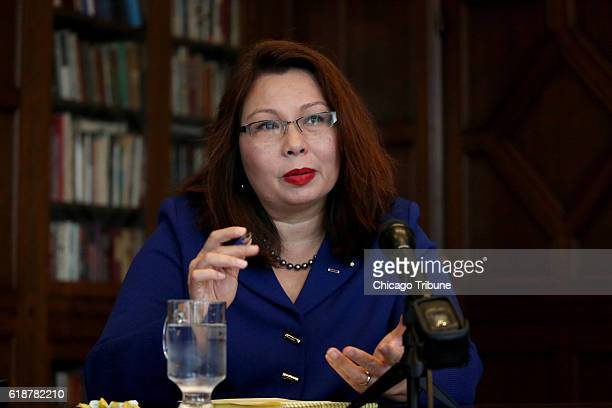 Tammy Duckworth answers a question from the Chicago Tribune editorial board during a joint appearance with Mark Kirk on Oct 3 2016 at Tribune Tower...