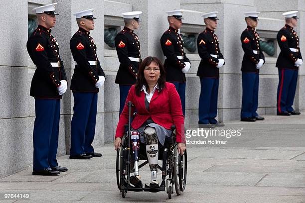 L Tammy Duckworth Assistant Secretary for Public and Intergovernmental Affairs at the Department of Veterans Affairs arrives at a World War II...