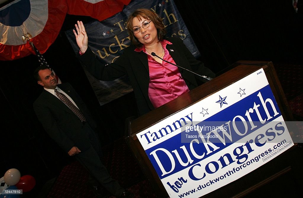 Tammy Duckworth concedes the Sixth District Congressional seat to Republican Peter Roskam on November 7, 2006 in Oakbrook, Illinois. Duckworth is a former helicopter pilot who lost both of her legs in Iraq.