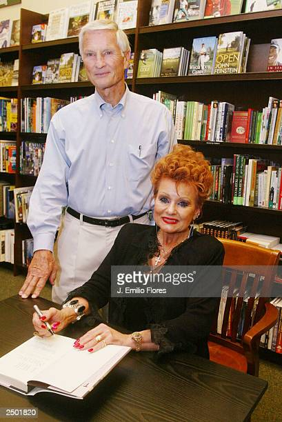 Tammy Faye Messner and her husband Roe pose at a book signing party for her new book on September 16 2003 in Los Angeles California Tammy Faye's...