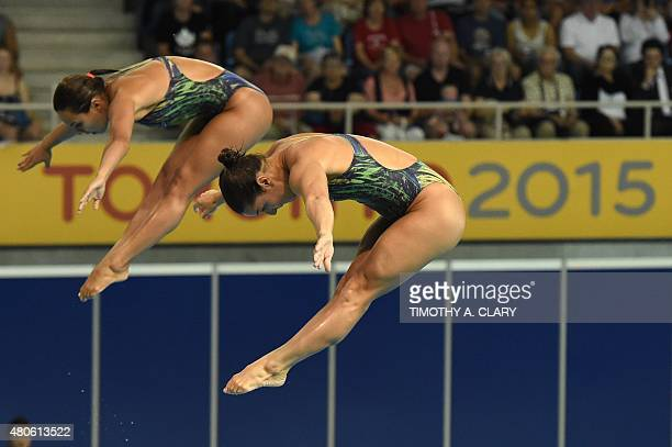 Tammy Galera and Juliana Veloso of Brazil compete during the Women's Synchronized 3m Springboard Finals at the Toronto 2015 Pan American Games in...