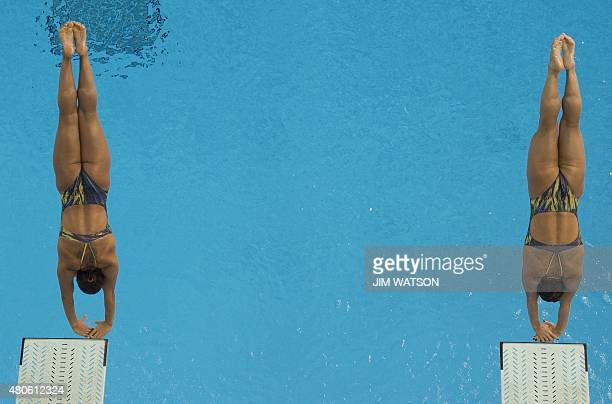 Tammy Galera and Juliana Veloso of Brazil compete in the Women's Synchronized 3M Springboard finals at the 2015 Pan American Games in Toronto Canada...