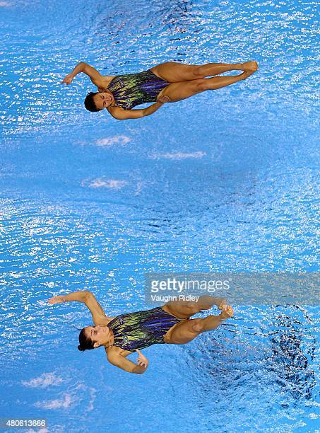 Tammy Galera and Juliana Veloso of Brazil compete in the Women's 3m Synchro Final during the Toronto 2015 Pan Am Games at the CIBC Aquatic Centre on...