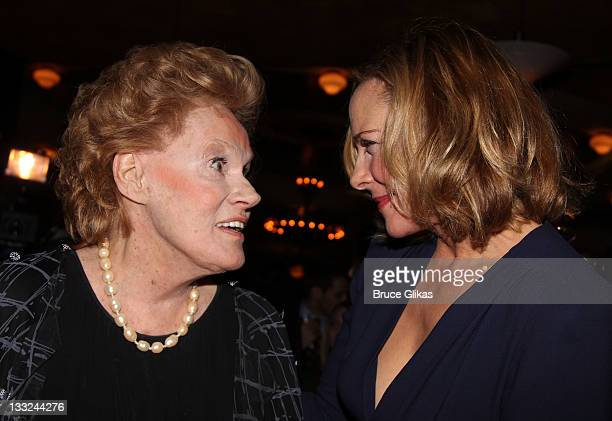 Tammy Grimes and Kim Cattrall attend the Private Lives Broadway opening night party at Bond 45 on November 17 2011 in New York City