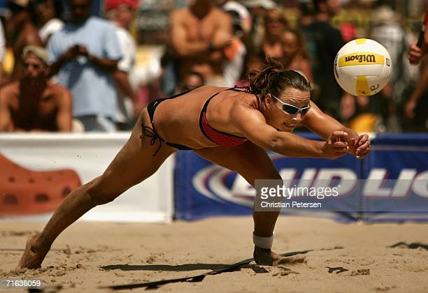 Tammy Leibl digs the ball during the AVP Manhattan Beach Open semi final match against Nancy Mason and Elaine Youngs on August 12 2006 in Manhattan...