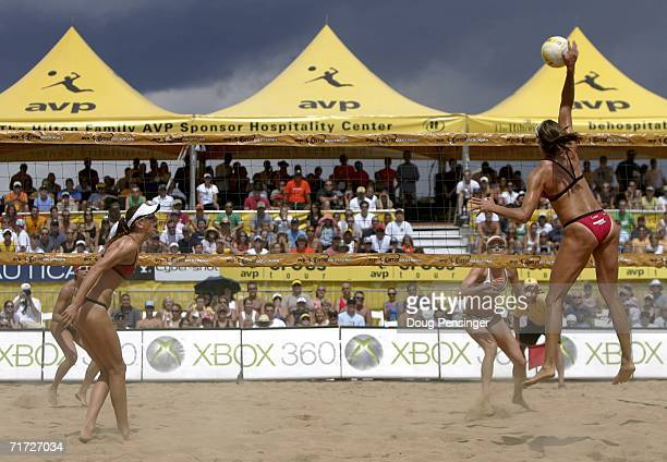 Tammy Leibl spikes the ball as she and Dianne DeNecochea were defeated by Kerri Walsh and Misty MayTreanor in their semifinal match in the AVP Cuervo...