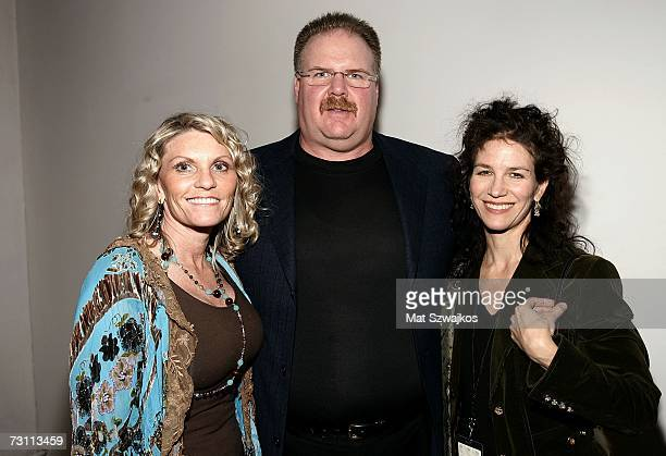 Tammy Reid football coach Andy Reid and an unidentified guest attend Kenneth Cole's RSVP to HELP benefit hosted by Kenneth Cole and Jon Bon Jovi at...