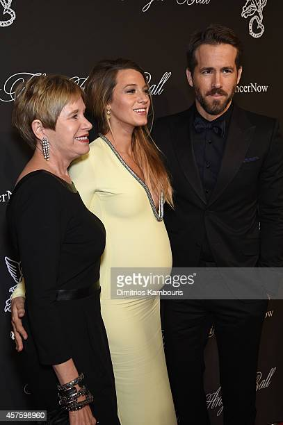 Tammy Reynolds, actress Blake Lively, and Ryan Reynolds attend Angel Ball 2014 hosted by Gabrielle's Angel Foundation at Cipriani Wall Street on...