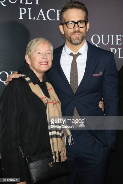 "Tammy Reynolds and Ryan Reynolds attend New York Premiere of ""A Quiet Place"" on April 2, 2018 in New York City."
