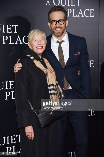 "Tammy Reynolds and Ryan Reynolds attend the premiere for ""A Quiet Place"" at AMC Lincoln Square Theater on April 2, 2018 in New York City."