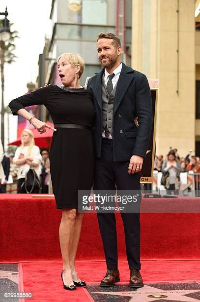 Tammy Reynolds and Ryan Reynolds pose for a photo as Ryan Reynolds is honored with star on the Hollywood Walk of Fame on December 15, 2016 in...
