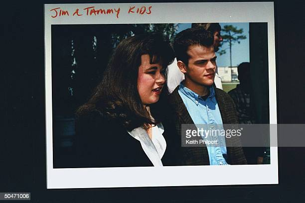 Tammy Sue Chapman her brother Jamie Bakker the children of imprisoned PTL televangelist James Bakker posing together as they reflect on their dad's...