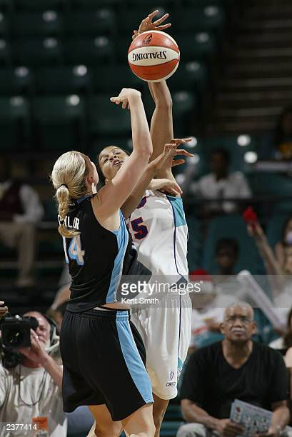 Tammy SuttonBrown of the Charlotte Sting blocks a shot by Penny Taylor of the Cleveland Rockers during the WNBA game at Charlotte Coliseum on July 20...