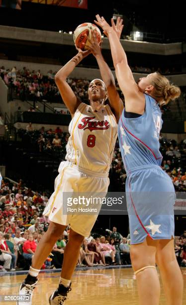 Tammy SuttonBrown of the Indiana Fever shoots over Katie Feeenstra of the Atlanta Dream at Conseco Fieldhouse on August 30 2008 in Indianapolis...