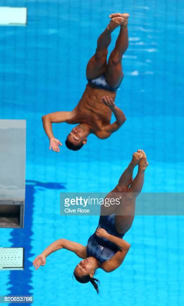 Tammy Takagi and Ian Matos of Brazil compete during the Mixed 3M Synchro Springboard final on day nine of the Budapest 2017 FINA World Championships...