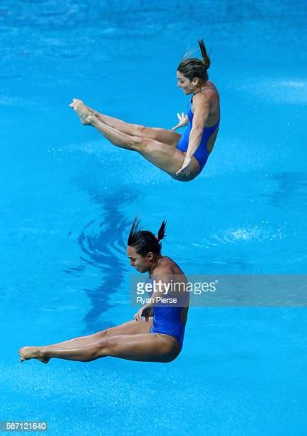 Tammy Takagi and Juliana Veloso of Brazil compete in the Women's Diving Synchronised 3m Springboard Final on Day 2 of the Rio 2016 Olympic Games at...