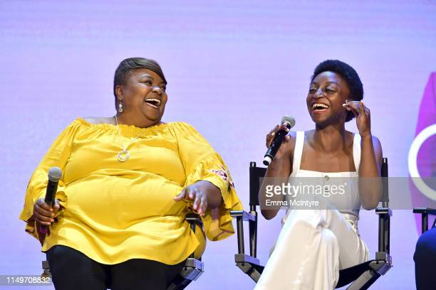 """Tammye Hicks and Jess Guilbeaux speak onstage during the Netflix FYSEE """"Queer Eye"""" panel and reception at Raleigh Studios on May 16, 2019 in Los..."""