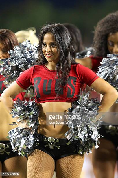 Tampa Bay Buccaneers cheerleader entertains the fans during preseason action between the Washington Redskins and the Tampa Bay Buccaneers at Raymond...