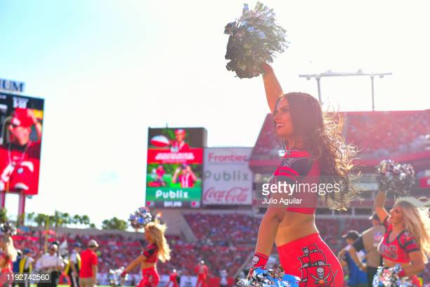 Tampa Bay Buccaneers cheerleader performs during the fourth quarter of a football game against the Indianapolis Colts at Raymond James Stadium on...