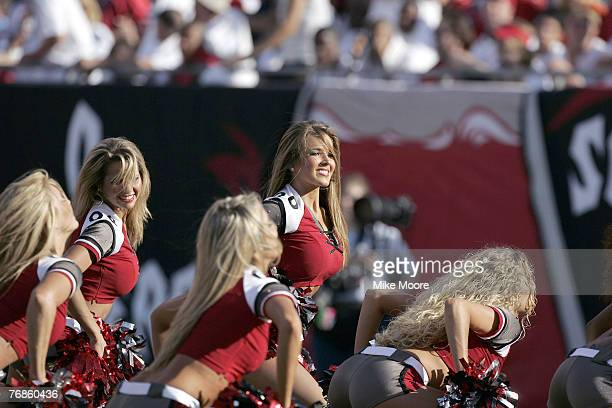 Tampa Bay Buccaneers cheerleaders entertain during the Bucs 27 0 win over the Falcons Sunday December 5 2004 at Raymond James Stadium in Tampa Florida