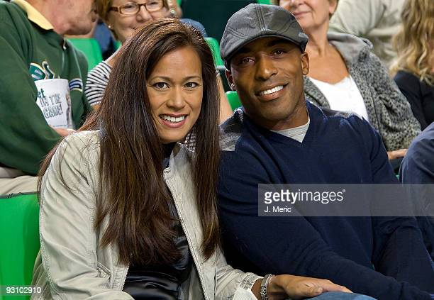 Tampa Bay Buccaneers cornerback Ronde Barber and Claudia Barber takes in the game between the South Florida Bulls and the Virginia Cavaliers with his...