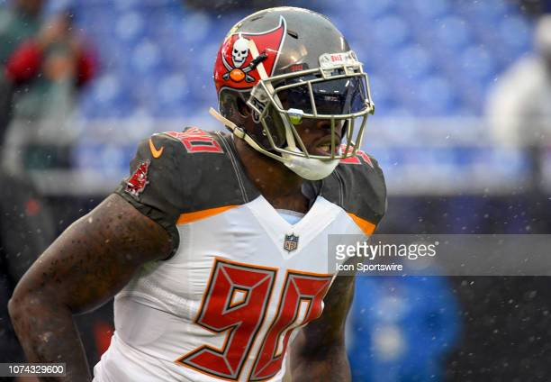 Tampa Bay Buccaneers defensive end Jason PierrePaul takes the field for the game against the Baltimore Ravens on December 16 at MT Bank Stadium in...