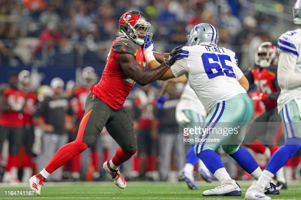 Tampa Bay Buccaneers defensive end Noah Spence tries to rush the edge around Dallas Cowboys offensive tackle Mitch Hyatt during the preseason game...