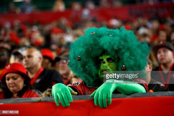 Tampa Bay Buccaneers fan dressed as the Grinch watches from the stands during the third quarter of an NFL football game against the Atlanta Falcons...