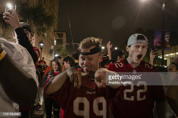 Tampa Bay Buccaneers' fans celebrate their victory after winning the Super Bowl LV, in Tampa, Florida, United States on February 08, 2021.