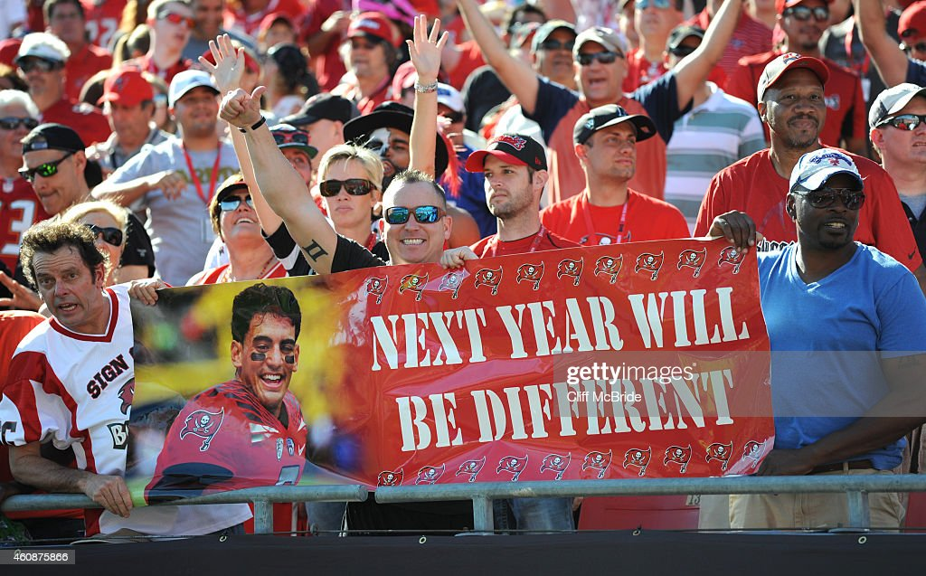 Tampa Bay Buccaneers fans look ahead to next years season after a loss to the New Orleans Saints at Raymond James Stadium on December 28, 2014 in Tampa, Florida.