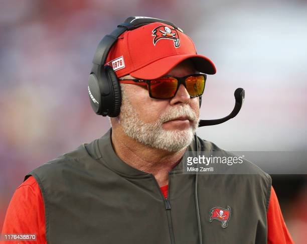 Tampa Bay Buccaneers head coach Bruce Arians watches the action on the field in the fourth quarter during the game against the New York Giants at...