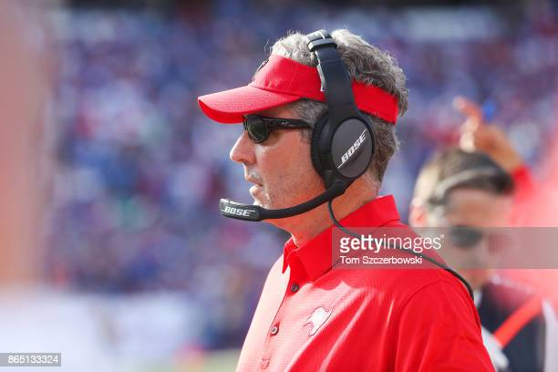 Tampa Bay Buccaneers Head Coach Dirk Koetter during the third quarter of an NFL game against the Buffalo Bills on October 22 2017 at New Era Field in...