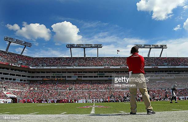 Tampa Bay Buccaneers head coach Greg Schiano looks on during a game against the Philadelphia Eagles at Raymond James Stadium on October 13, 2013 in...