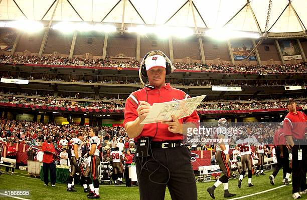 Tampa Bay Buccaneers Head Coach Jon Gruden prepares for the game against the Atlanta Falcons The Buccaneers won the game 3110 on September 21 2003