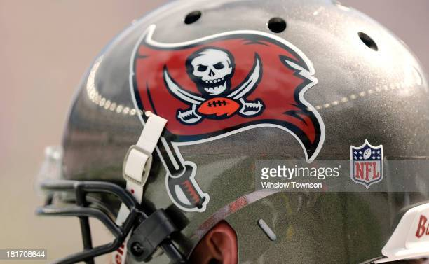 Tampa Bay Buccaneers helmet and logo are seen during the second half of their 233 loss to the New England Patriots at Gillette Stadium on September...