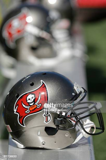 Tampa Bay Buccaneers helmets and logos are seen during the first half at Gillette Stadium on September 22 2013 in Foxboro Massachusetts