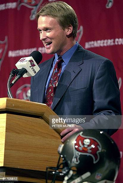 Tampa Bay Buccaneers' new Head Coach Jon Gruden speaks at a press conference 20 Febuary 2002 in Tampa Florida At 38 Gruden is the youngest coach in...