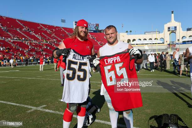 Tampa Bay Buccaneers offensive guard Alex Cappa and Los Angeles Rams center Brian Allen after an NFL football game between the Tampa Bay Buccaneers...