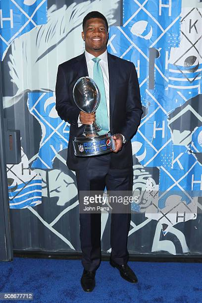 Tampa Bay Buccaneers quarterback Jameis Winston accepts the 2015 Pepsi Rookie of the Year Award at the 2015 Pepsi Rookie of the Year Award Ceremony...