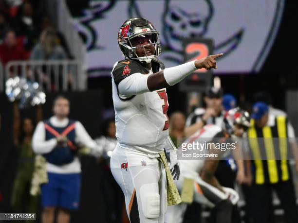 Tampa Bay Buccaneers Quarterback Jameis Winston points out a coverage during the NFL game between the Tampa Bay Buccaneers and the Atlanta Falcons on...