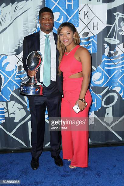 Tampa Bay Buccaneers quarterback Jameis Winston recipient of the 2015 Pepsi Rookie of the Year Award and Breion Allen pose on the Blue Carpet at the...