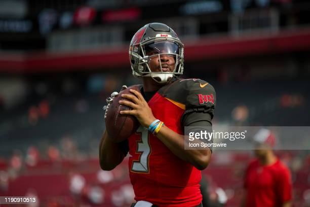 Tampa Bay Buccaneers Quarterback Jameis Winston warms up before the Tampa Bay Buccaneers game versus the Atlanta Falcons on December 29 2019 at...