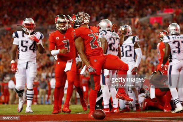 Tampa Bay Buccaneers running back Doug Martin celebrates after scoring a touchdown in the 2nd quarter of the NFL game between the New England...