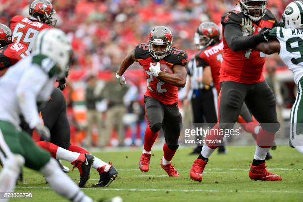 Tampa Bay Buccaneers running back Doug Martin runs up the middle during the first half of an NFL game between the New York Jets and the Tampa Bay...