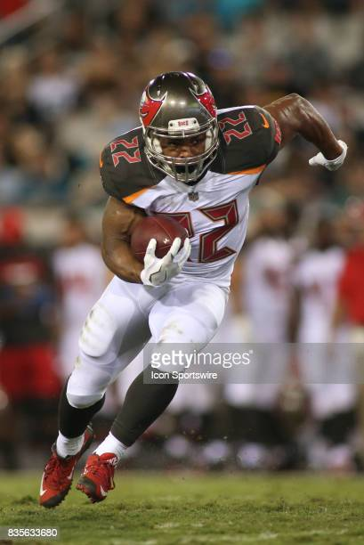 Tampa Bay Buccaneers running back Doug Martin runs with the ball during the preseason game against the Jacksonville Jaguars on August 17 at EverBank...