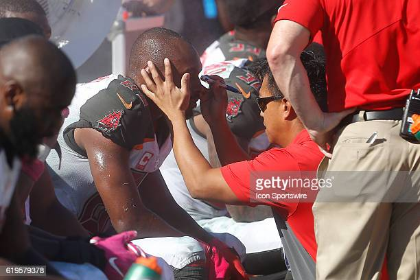 Tampa Bay Buccaneers wide receiver Russell Shepard is checked for a concussion on the sideline by team doctors in the 4th quarter of the NFL game...