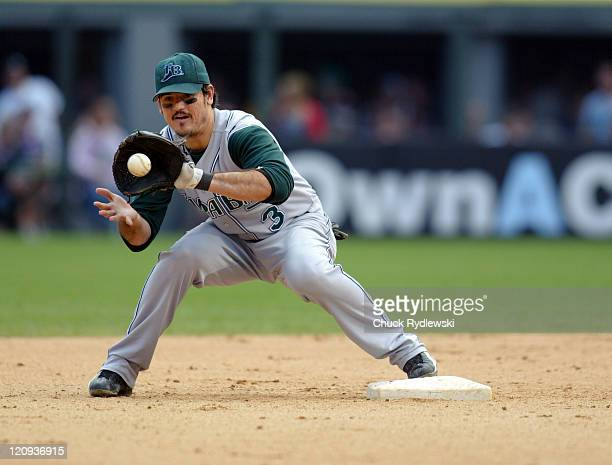 Tampa Bay Devil Rays' 2nd Baseman Jorge Cantu makes a putout at 2nd base during their game against the Chicago White Sox at US Cellular Field in...