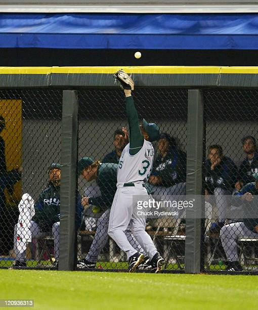 Tampa Bay Devil Rays' controversial rookie right fielder Delmon Young can't catch up to Jermaine Dye's 3run home run in the 1st inning of their game...
