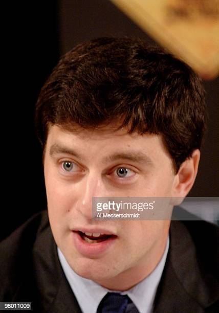 Tampa Bay Devil Rays executive vice president of baseball operations Andrew Friedman talks to the media at a press conference November 3 2005 at...