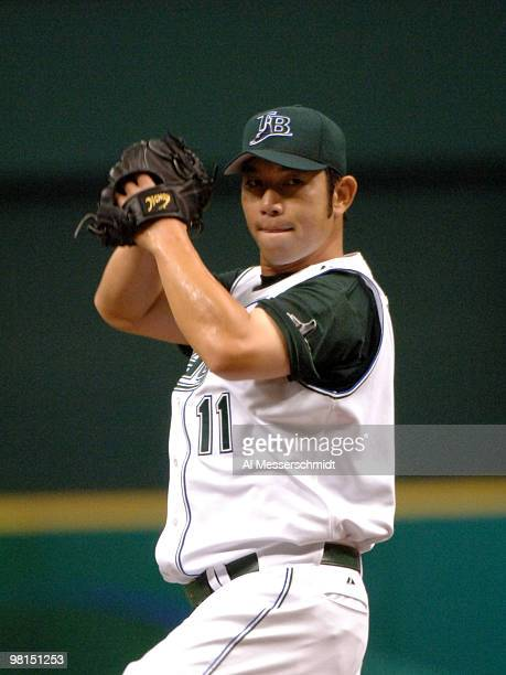 Tampa Bay Devil Rays Hideo Nomo pitches against the Oakland Athletics April 9, 2005 at Tropicana Field. Nomo gave up one hit and one run in six...